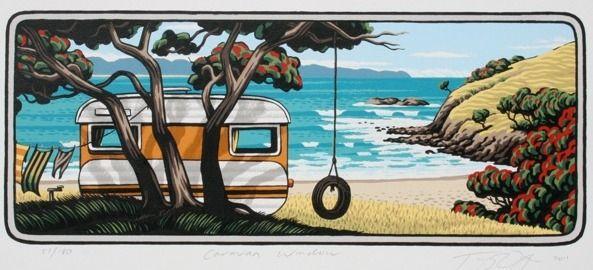 Caravan Window by Tony Ogle for Sale - New Zealand Art Prints
