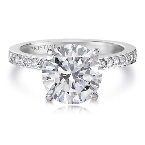 Platinum Round Forever Brilliant Engagement Ring Moissanite 1.50ct and Natural Diamonds .23ct Engagement Wedding Anniversary Ring