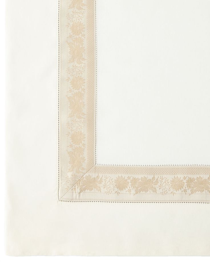 Queen 300TC Garland Flat Sheet, Ivory/Gold - Nancy Koltes