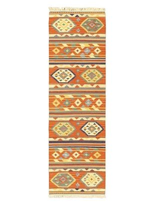55% OFF Hand Woven Izmir Wool Kilim, Dark Copper, 2' 5