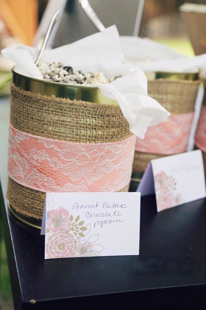 Outdoor bridal shower party favor ideas. Make a candy coated popcorn and let them take home as much as they want in brown lunch bags! | www.mydiyenvy.com