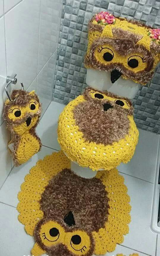 Jogo de banheiro | croche | barbante | coruja | amarelo | infantil