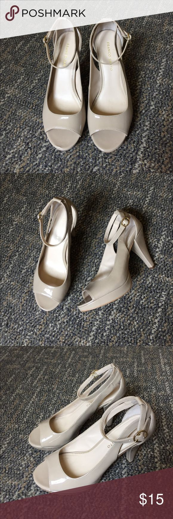 Franco Sarto beige high heels Neutral beige color. 4 inch heel with ankle strap. Worn once. Franco Sarto Shoes Heels