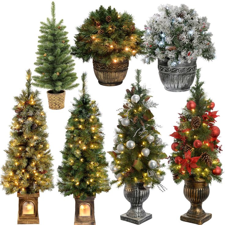 2ft 3ft 4ft Pre-Lit Pine Christmas Tree Warm White LED Lights ...
