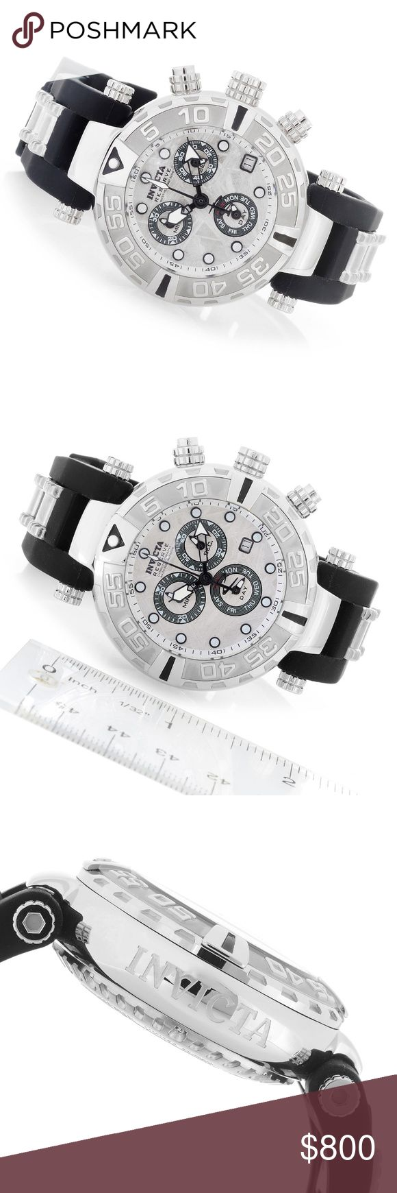"""LAST CHANCE SALE Invict Reserve Quartz Watch Invicta Reserve 38mm Subaqua Noma I Swiss Quartz Chronograph Meteorite Dial Strap Watch Watch Details: Movement Country of Origin: Switzerland  Thickness:  38mm: 15mm  47mm: 19mm  Bezel: Unidirectional Rotating  Crystal: Flame Fusion  Crown: Screw down with function pushers  Subdials: 2:00 - Perpetual Seconds, 6:00 - Day of the week and 10:00 - 30-minute  Strap: Silicone  Strap Measurements:  38mm: 8-3/4"""""""" L x 20mm W  47mm:10-1/4"""" Lx24mm W Clasp…"""