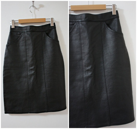 vintage high waisted black leather skirt with front