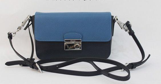 2014 Cheap Prada Saffiano bandoleer bag Blue+Cornflower blue,Prada bags 2014