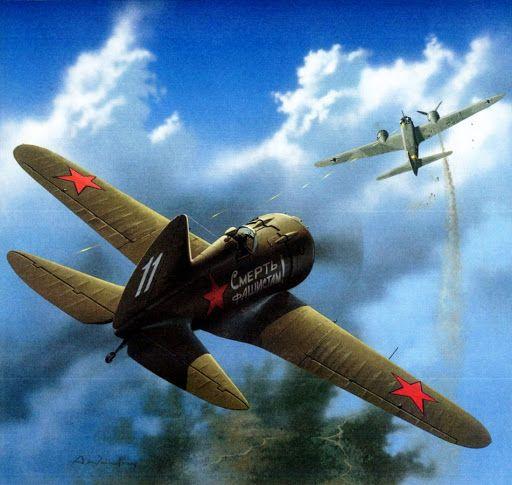 """Polikarpov I-16 tipo 18 derriba un Junkers 88. La consigna del fuselaje reza """"¡Muerte a los fascistas!"""". Más en www.elgrancapitan.org/foro/"""
