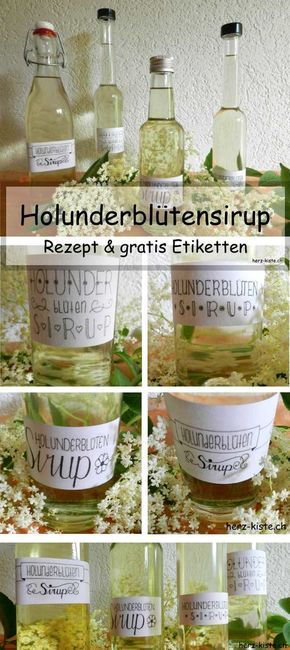 Holunderblütensirup selbermachen - mit Gratis Etiketten zum Download!