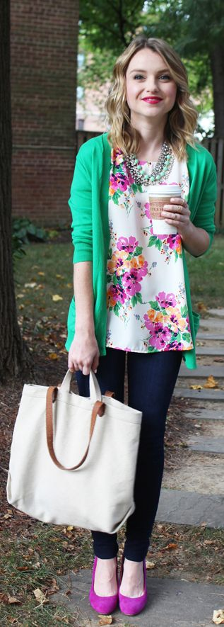 Gap Green Cardigan and Pink Floral Top - Poor Little It Girl