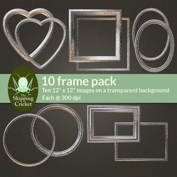 Glitter digital frames for scrapbooking glitter decorative