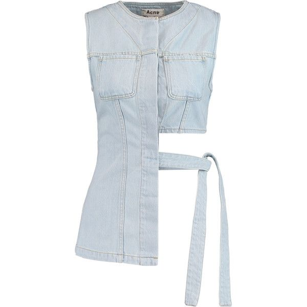 Acne Studios - Draped Asymmetric Denim Top (€120) ❤ liked on Polyvore featuring tops, blouses, crop tops, sky blue, asymmetrical tops, sky blue crop top, denim crop top, drape crop top and denim top