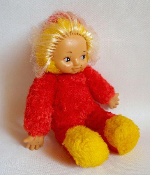 Кукла (красное меховое тело), СССР, 1970. Поиск игрушек, детских книг и настольных игр СССР -  http://doska-obyavleniy-detstva.blogspot.ru/