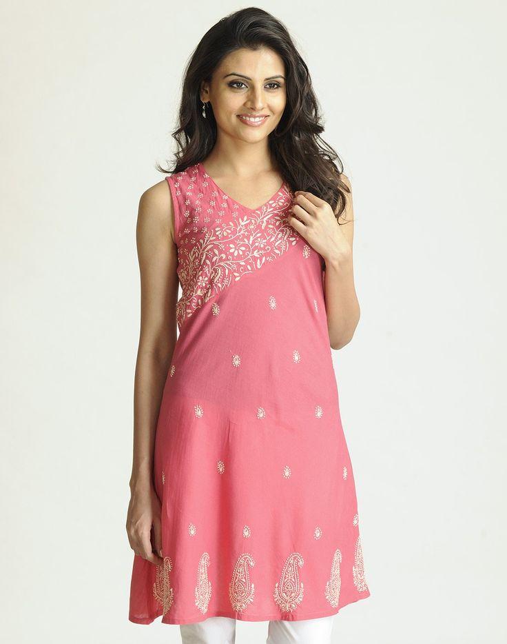 Cotton Cambric Panelled Lucknavi Mini Kurta