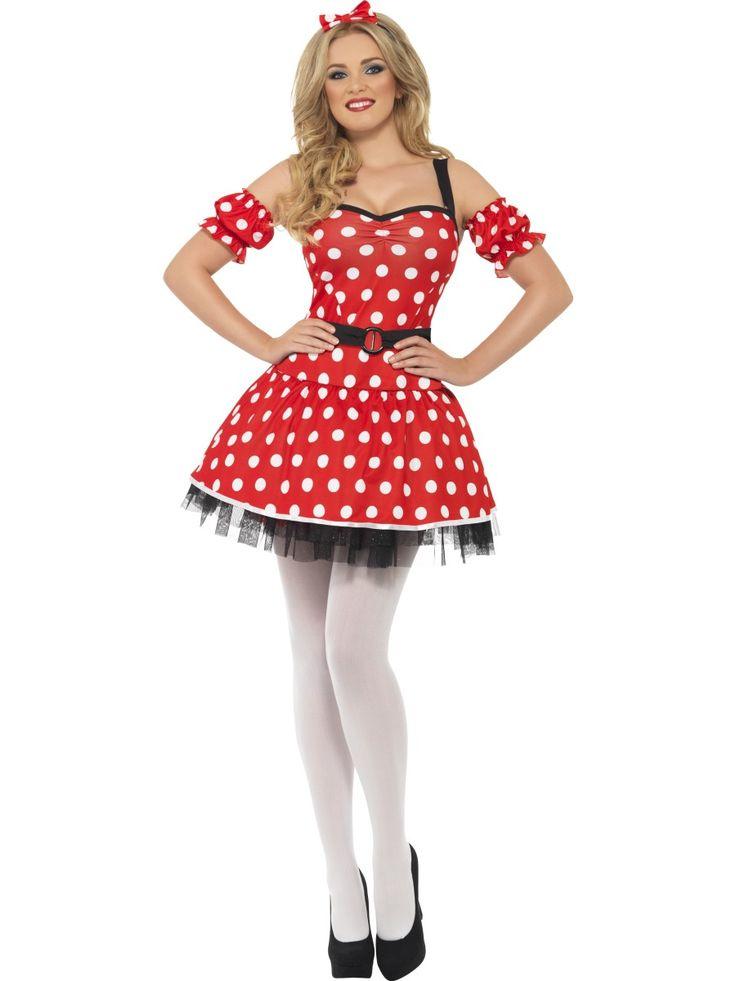 1950-es 1960-as évek hangulatát idéző pöttyös női ruha hajráffal. Egér fülekkel kiegészítve megfelelő jelmez a népszerű Minnie egér karakter megvalósítására.