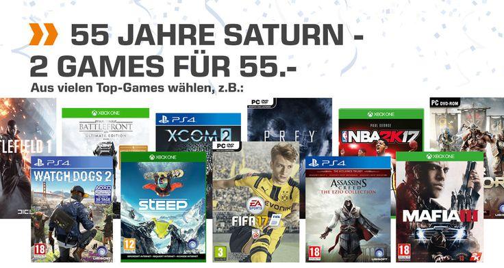Saturn feiert 55. Geburtstag und das gehört ordentlich gefeiert! So bekommt ihr 2 Games für 55€ - die Auswahl ist super, einfach mal durchstöbern!   #Computerspiele #Games #Geburtstag #Konsole #PS4 #Saturn #XBox