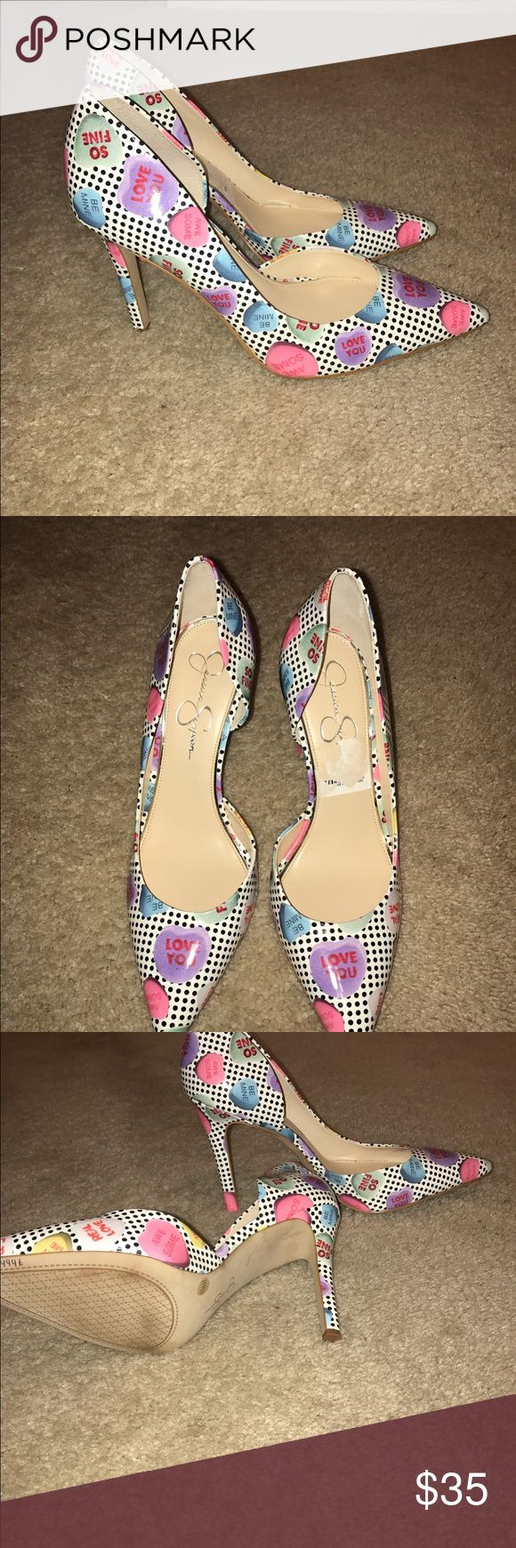 Jessica Simpson Valentines candy high heels Have a fun Valentines Night out with these cute heels.  New. Never worn.  Originally purchased from HSN Outlet store in FL...never found an occasion to wear them so now I am passing them on to you! Jessica Simpson Shoes Heels