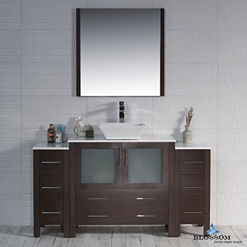 "BLOSSOM 001-60-03-1616V-DSC Sydney 60"" Vanity Set with Vessel Sink and Double Side Cabinets Wenge"