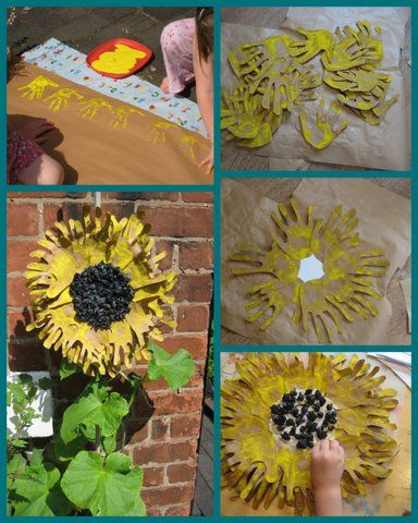 Giant sunflowers out of hand prints. Just for fun. When Sarah and I did this with kids, we had them trace out their hands. That was hard enough :D