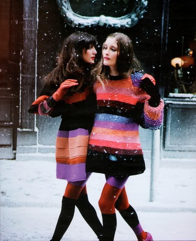 Irina Lazareanu and Iekeliene Stange for Sonia Rykiel campaign.