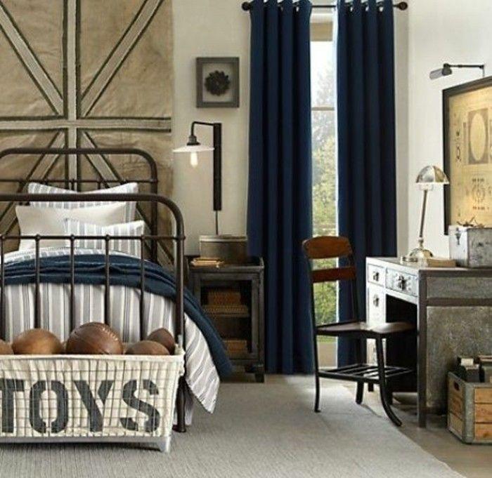Chambre Garcon Gris Vert : chambre d ado garcon murs beiges rideaux longs en bleu foncé chambres