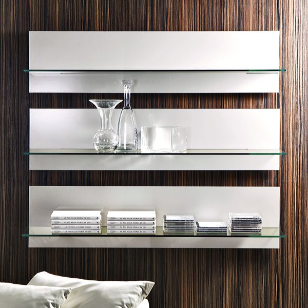 The modern Binario wall shelf was designed by architect Fabio Rebosio for renowned Italian makers Pacini e Cappellini. Produced to your specification, either gloss lacquered or in ash veneer, stained in a selection of wood finishes.