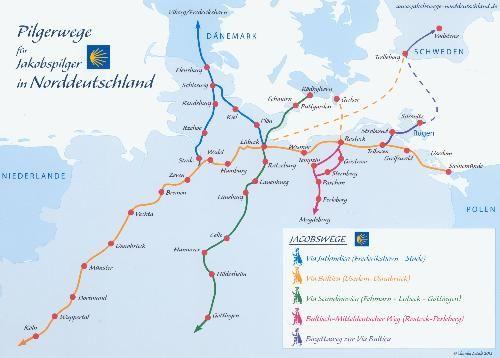 Jakobsweg Norddeutschland Karte