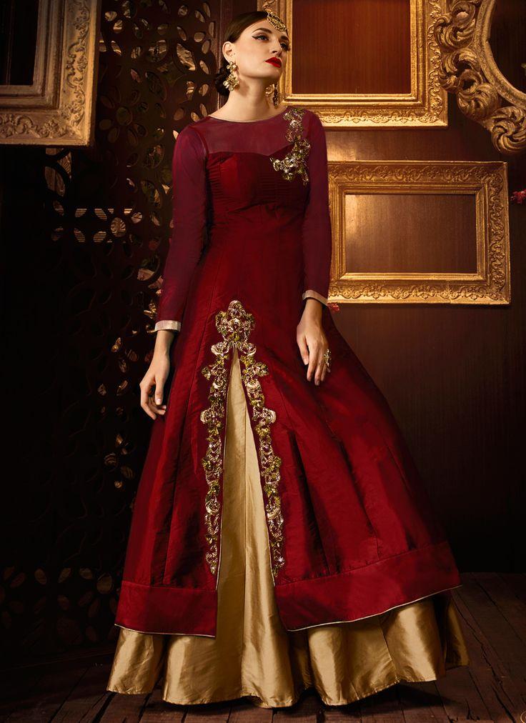 Buy Maroon color taffeta silk party wear lehenga at kollybollyethnics with free worldwide shipping.