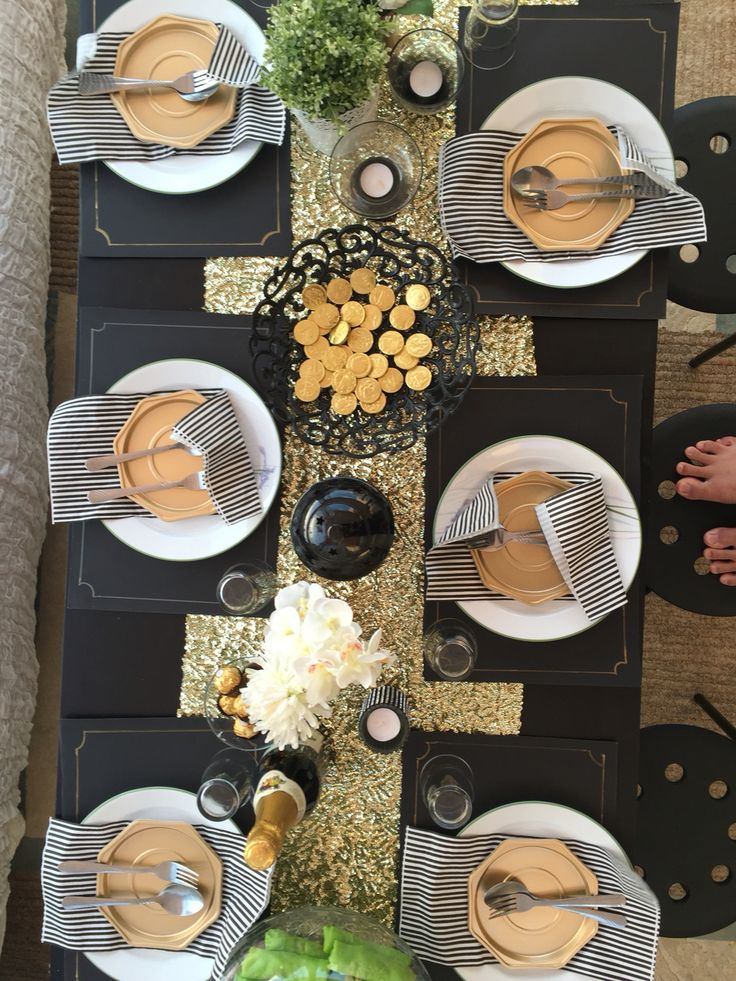 Black \u0026 Gold Table setting for Mr.Ragu\u0027s farewell & 10 best Farewell party black \u0026 gold theme images on Pinterest ...