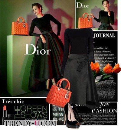 Черное платье и оранжевые аксессуары: стильно и ярко!