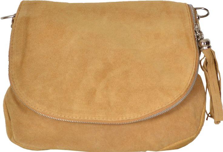 Menší model kabelky na nosenie cez rameno. Kabelka je vyrobená z pravej brúsenej kože.