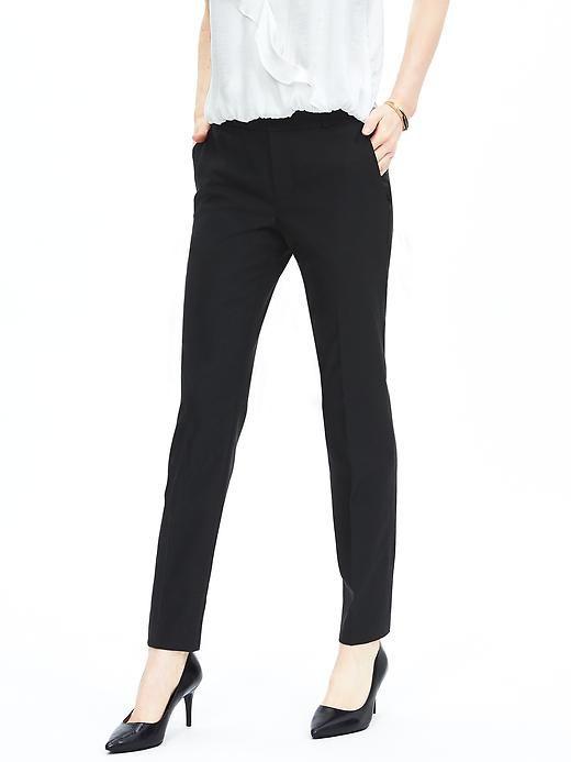 Harper-Fit Black Lightweight Wool Straight Leg | Banana Republic