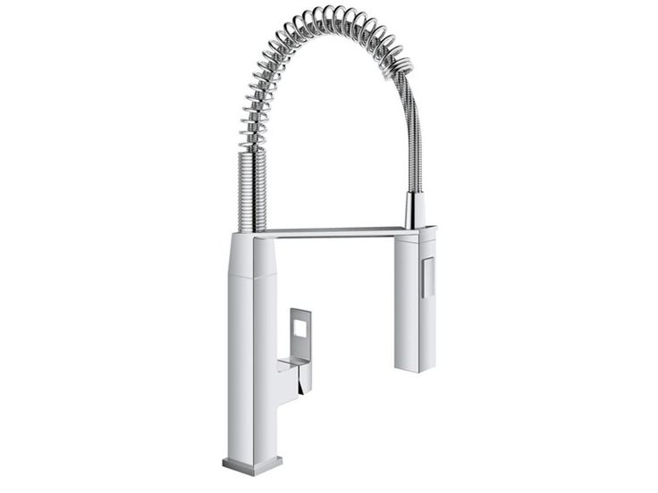Countertop 1 hole kitchen mixer tap with spray EUROCUBE | Professional kitchen mixer tap by Grohe