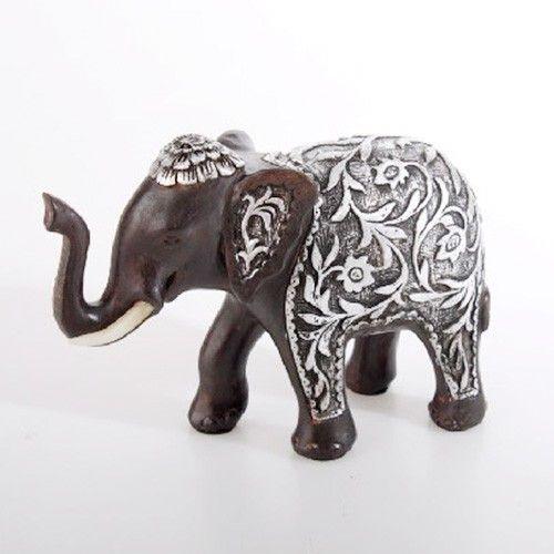 Figura elefante marrón con plateado (16x7x12 cm) resina - Hogar y más