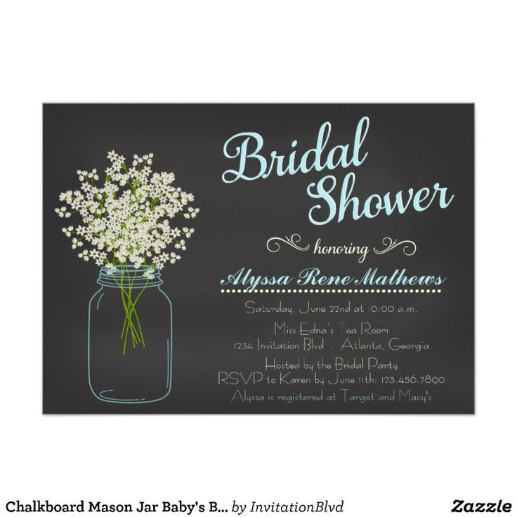 simple diy bridal shower invitations%0A Chalkboard Mason Jar Baby u    s Breath Bridal Shower Card