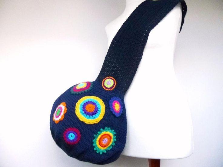 Tasche XL  dunkelblau Boho Hippie von WerkstattAmGrossenApfelbaum auf DaWanda.com