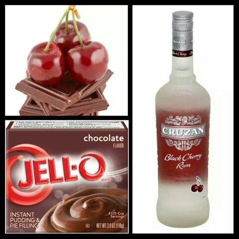 Chocolate Cherry Pudding Shots 1 small pkg INSTANT chocolate pudding 3/4 cup milk 1/4 cup vodka 1/2 cup black cherry rum 8 oz Extra Creamy Cool Whip  Directions 1. Whisk together the milk, liquor, and instant pudding mix in a bowl until combined. 2. Add cool whip a little at a time with whisk. 3.Spoon the pudding mixture into shot glasses, disposable shot cups or 1 or 2 ounce cups with lids. Place in freezer for at least 2 hours
