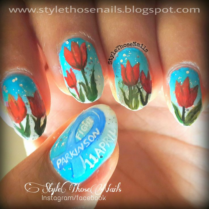 Style Those Nails: World Parkinson's Day - Red Tulip Nails #tulipnails #aprilnails #worldparkisonsdaynails #awarenessnails http://stylethosenails.blogspot.com/2014/04/world-parkinsons-day-red-tulip-nails.html
