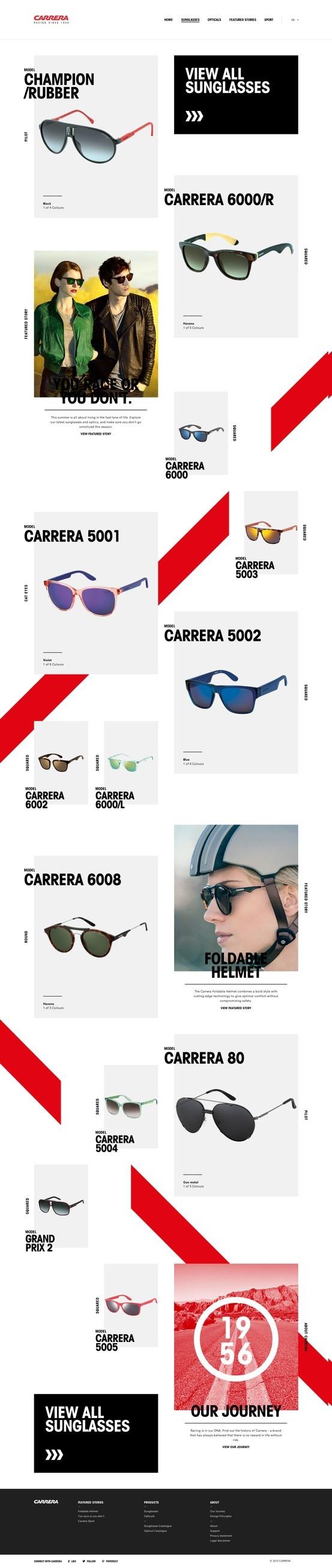 Carrera sunglasses - eye catching catalog layout