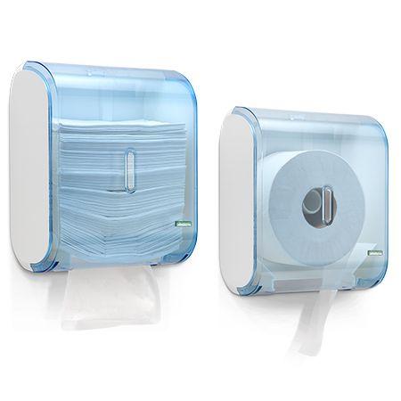 Dispenser múltiplo para papel higiênico rolão (300/500m) ou papel toalha interfolha - Azul | Premisse
