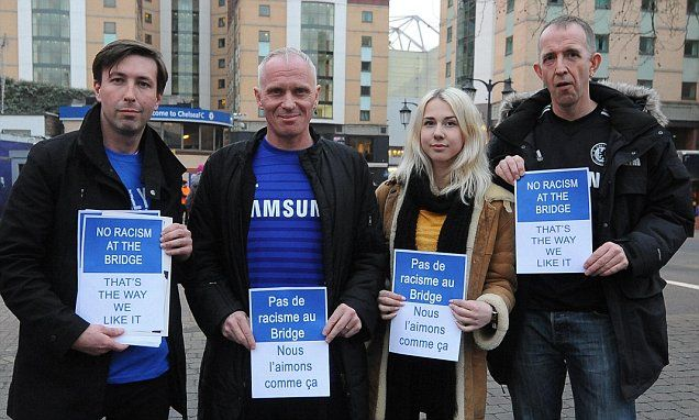 Chelsea fans produce flags and banners in fight against racism.
