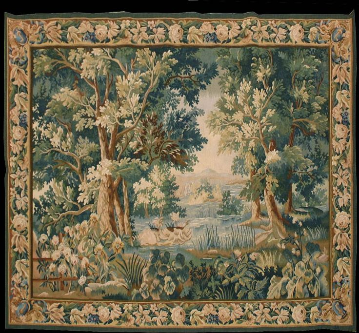 Reproduction Of Antique French Tapestry Nature Asid In