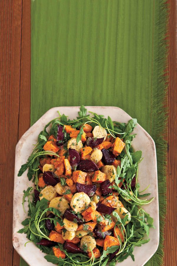 Roasted Root Vegetable Salad - Perfectly Paired Holiday Side Dishes - Southernliving. Recipe: Roasted Root Vegetable Salad  Packed with nutrients and hearty flavors, this salad is both pretty on the plate and perfect for winter. It tastes equally delicious with other roasted vegetables, such as butternut squash, onions, carrots, and potatoes.