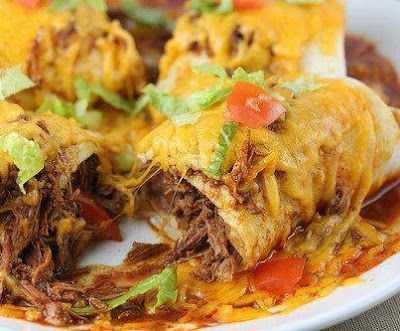 Crockpot Smothered Burritos (stew meat). Want to try this meat recipe for a burrito bowl instead.
