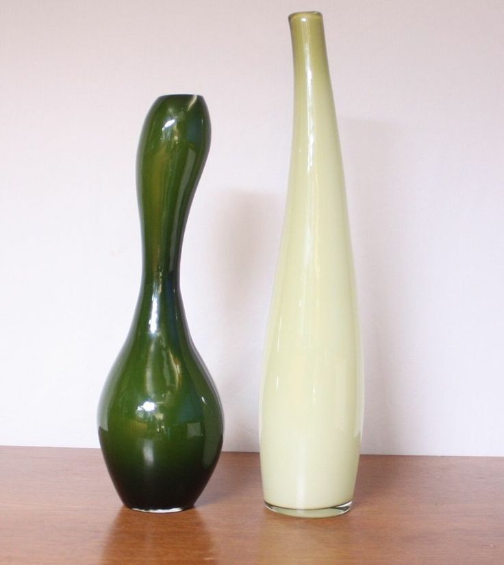 Set Of Two Tall Green Glass Vases Modern Home Decor Modern Second Hand Vases