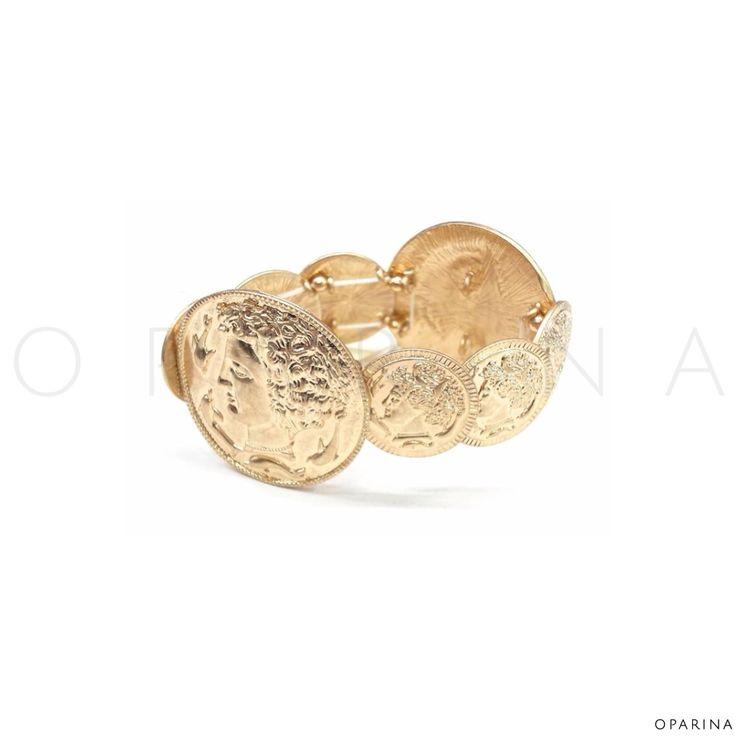 Pulsera De Monedas Dorada. #oparina #statement #bangle #coins #gypsy #boho #bohochic  #madewithstudio
