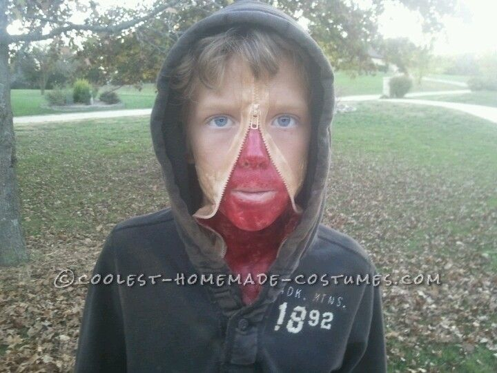 Creepy Zipper Face Halloween Costume for a Boy… Enter the Coolest Halloween Costume Contest at http://ideas.coolest-homemade-costumes.com/submit/