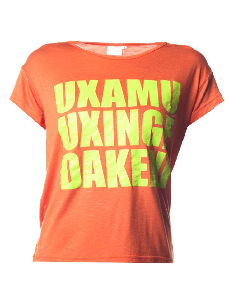 Slogan T-Shirt in Orange