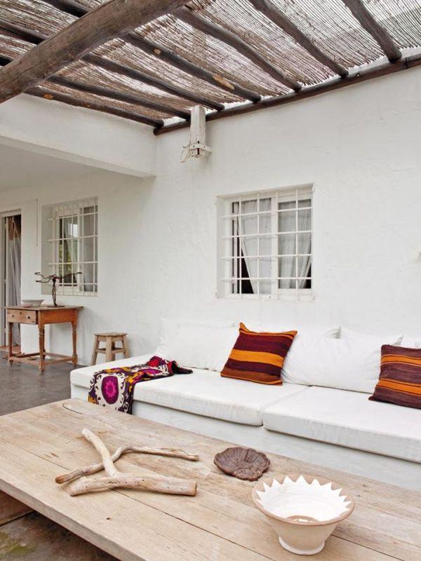 "cozy fabric shade creates an ""outdoor room"" feeling"