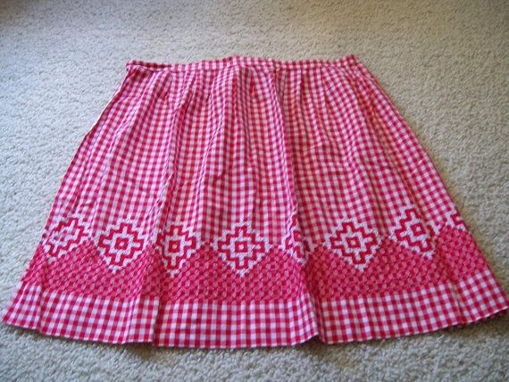 Vintage Red Gingham Apron, Half Apron with Chicken Scratch Embroidery